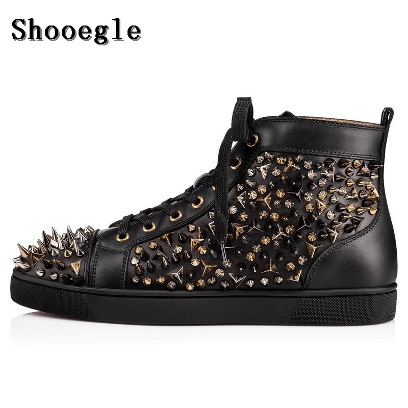 US $67.62 45% OFF|SHOOEGLE BlackWhite Leather Rivets Men Shoes High Top Fashion Spike Sneakers Shoes Outdoors Flats Casuals Shoes Chaussure Homme in