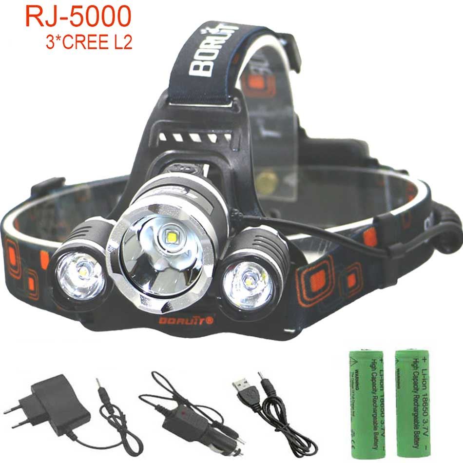 RJ3L2 LED Headlight 3*L2 lamp lights USB Rechargeable 18650 Head Lamp 4 Mode 9000LM with Battery charger|led headlight|head lamp18650 head lamp - title=
