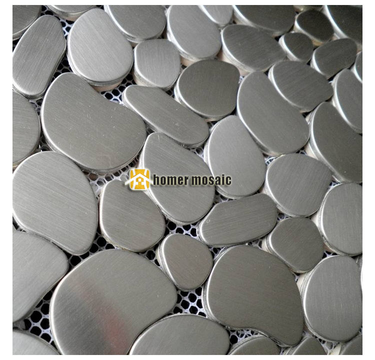 Pebble Design Gray Color Brushed Finished Stainless Steel Metal Mosaic Tiles For Living Room Kitchen Backsplash In Wallpapers From Home
