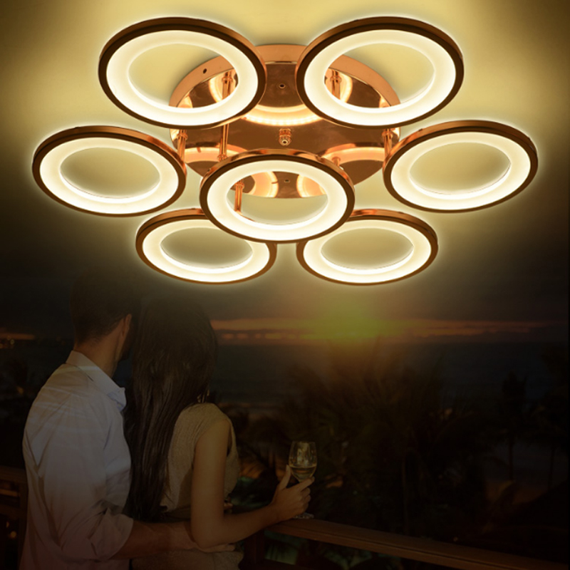 Modern Minimalist Electroplating Rose Golden Led Ceiling Lamp Hardware Ring Design Acrylic Living Room Decoration Warm White