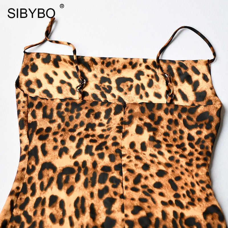 Sibybo leopardo impressão espaguete cinta sexy vestido feminino outono sem mangas com decote em v solto mini bodycon vestido sem costas vestido casual