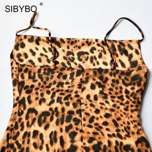 Image 5 - Sibybo robe Sexy femme, imprimé léopard, bretelles Spaghetti, sans manches, col en v, ample, Mini moulante, dos nu, été tenue décontractée