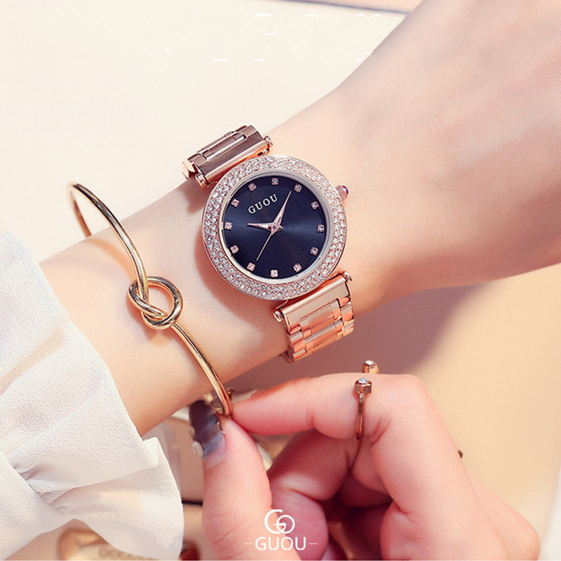 GUOU Fashion Rose Gold Watch Luxury Rhinestone Watch Women Watches Full Steel Women's Watches saat relogio feminino reloj mujer guou watch women luxury rose gold ladies watch auto date full steel quartz watch wristwatch fashion reloj mujer relogio feminino