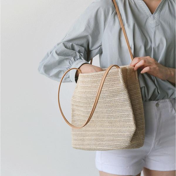 Summer Women Durable Weave Straw Beach Bag Feminine Linen Woven Bucket Bag  Grass Casual Tote Handbags Knitting Rattan Bags Hobos b19073695320