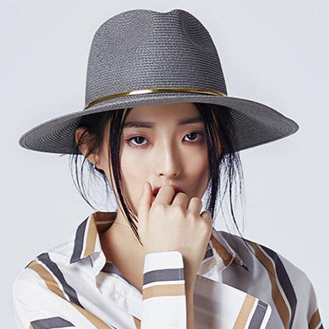 Moda verano mujeres paja toquilla Sol sombrero para la señora elegante  reina Floppy ala ancha Bobo ad9fb4e4db7