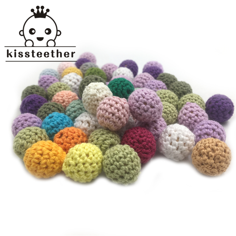 Wooden Teether 20mm/10pc Elegant Crochet Bead Available For Choose Knitted Cotton Thread DIY Jewellery Making,Crochet Ball Beads