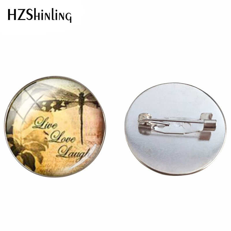 Kecantikan Baru Vintage Dragonfly Cabochon Kaca Dome Pin Bros Handmade Capung Wanita Perhiasan Pin Hadiah untuk Wanita