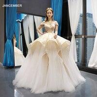 J66783 jancember special ball gown wedding dresses off shoulder v neck champagne wedding gowns 2019 engagement dress real price