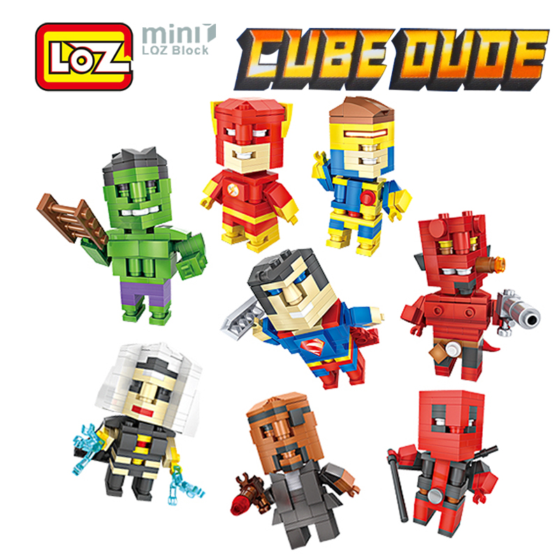 LOZ Deadpool Superman Hellboy Flash Cyclops Nick Mini Figure Model Building Blocks Cube Dude Toy For Age 6+ Offical Authorized hellboy giant right hand anung un rama right hand of doom arms hellboy animated cosplay weapon resin collectible model toy w257
