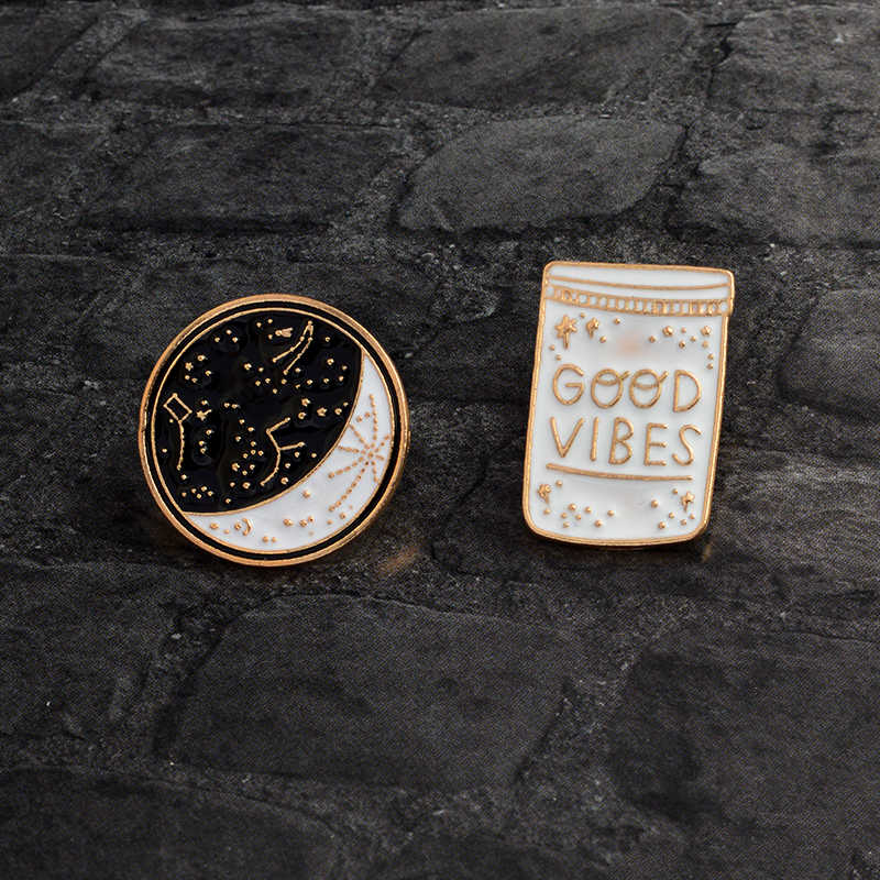 Cartoon Constellation Moon GOOD VIBES Bottle Brooch White Black Enamel Pins Button Coat Jacket Collar Pin Badge Jewelry Gift