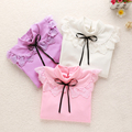 2016 Spring Long Sleeve Cotton White Girl Blouses Child Cute Bow Collar Shirt Tops School Shirts Kids Girl Blouse KC-1544-1