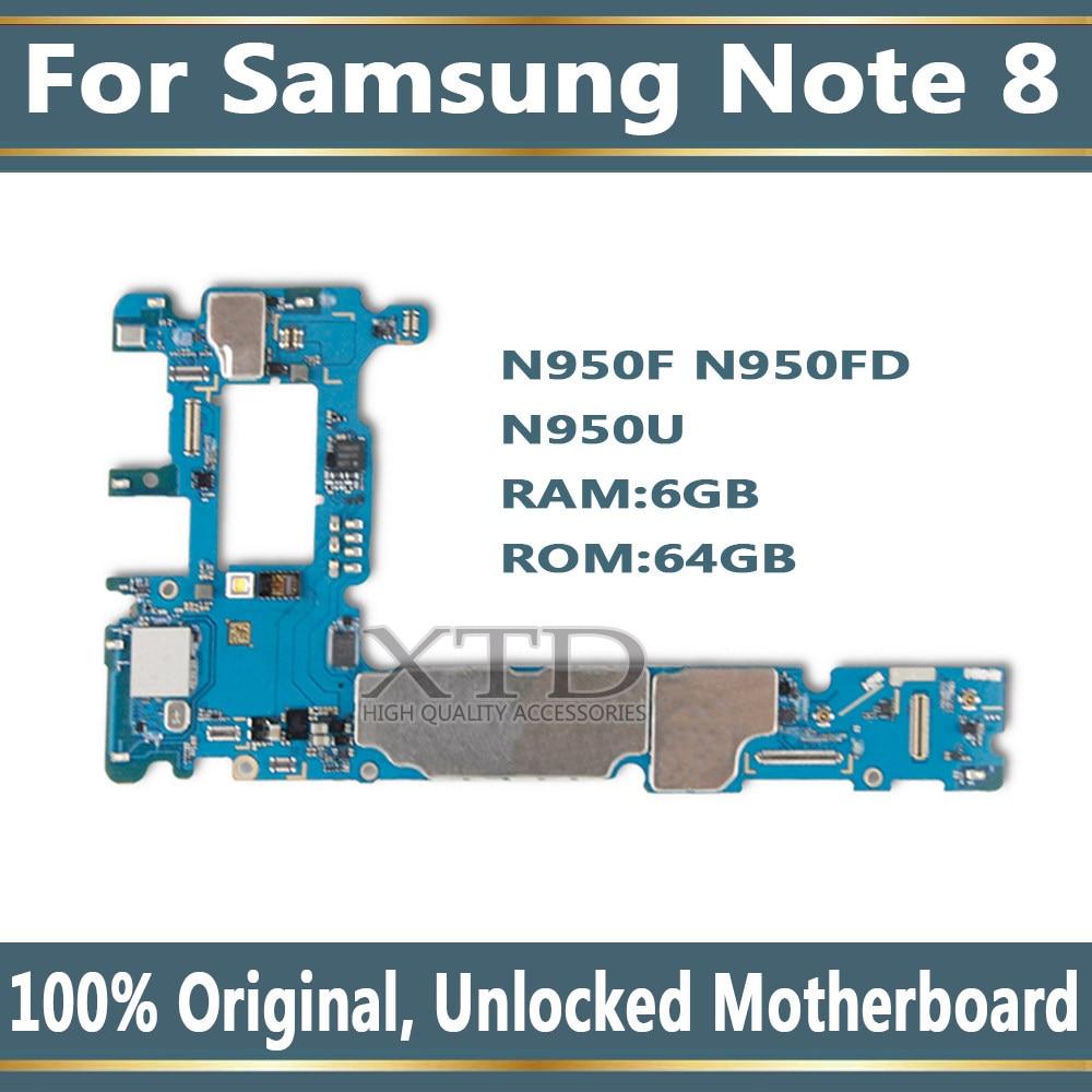 BINYEAE Original unlocked For Samsung Galaxy Note 8 N950F N950FD/DS N950FD  N950U Motherboard for Galaxy Note 8 Mainboard
