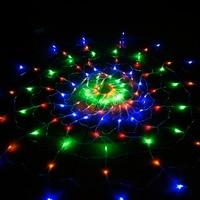 110V Colorful RGB Spider Net 1 2m 120led Light For Indoor Outdoor Halloween Wedding Decoration UL