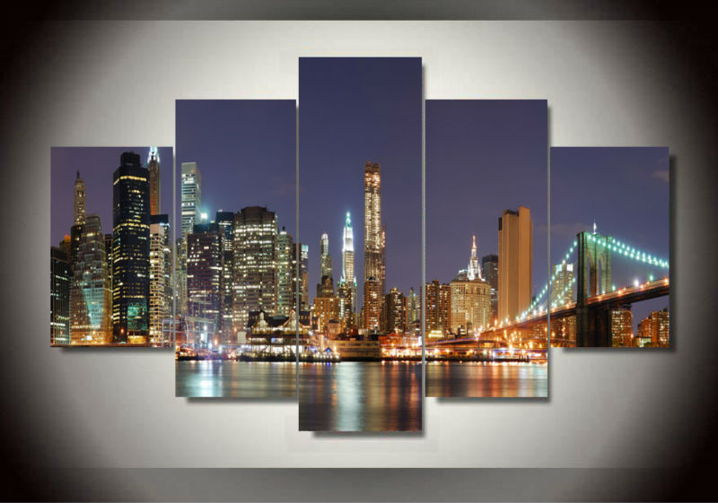 Framed 5 Panels Home Decor Wall Art Painting Prints Manhattan Brooklyn Bridge Artwork Modern City F/471 - Dafen art store