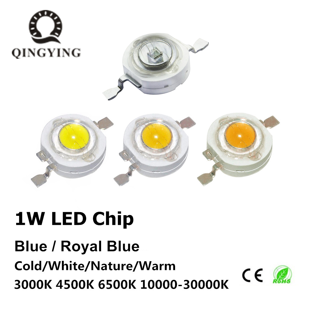 10-1000pcs 1W High Power LED Light-Emitting Diode LEDs Chip SMD Warm White Royal Blue For DIY SpotLight Downlight Lamp Bulb