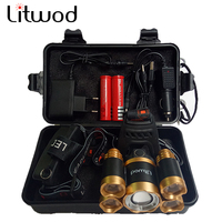 Z20Litwod 15000 Lumens Rechargeable 5 Leds T6 Q5 Headlamp Zoomable Head Flashlight Cree Xml T6 Head