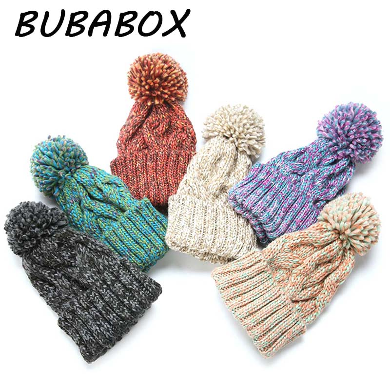 Winter Thick Knit Cap Lady Fashion Knitting Hats With Pompom Beanies Cap ...