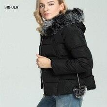 SMFOLW Parkas Winter Women 2017 Cotton Padded Winter Jacket Women's Fur Hooded Female Jacket Winter Thick Warm Coat Women