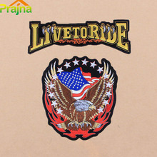 ZOTOONE American Flag Eagle Wing LIVE TO RIDE Large Back Iron On Patches Clothing Jacket Biker Punk Patch Embroidered Rock Fire