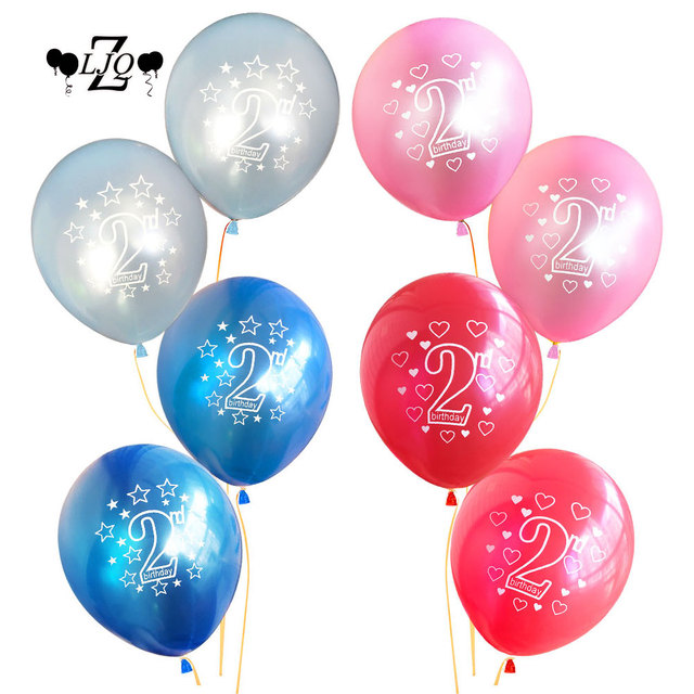 ZLJQ 10pcs 2nd Balloons Birthday Helium Boy Girl Latex Balloon Kids Party 2 Year Old Baby Shower Decoration Globos