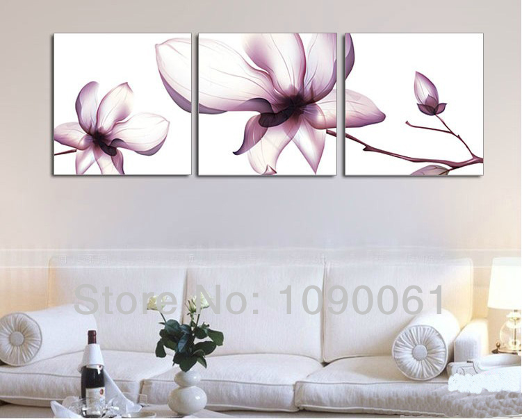 Abstract Transpa Flowers Hand Painting On Canvas Wall Art Sets Of 3 Piece Decoration Pictures For Home With No Frame