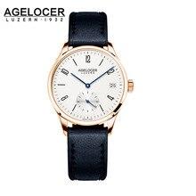 AGELOCE Women Brand Fashion quartz-watch Women's Clock Relojes Mujer Dress Ladies Watch Business Black Genuine Leather Watches