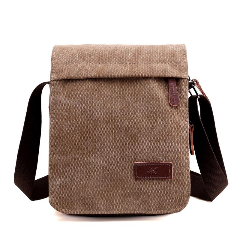 New Fashion Men Messenger Bags Canvas Bag Casual Vintage Flap Solid High Quality Canvas Zipper Packet Shoulder Bags