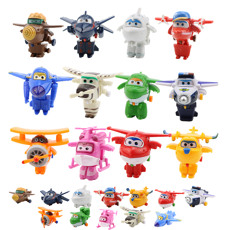 4/5/8/12 pcs/set Super Fly Hero Mini Planes Wing Toys Deformation Transformation Jet Animation Action Figure ABS Toys For Kids