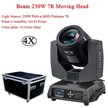 4Pcs/Lot 230W Beam Moving Head Sharpy lyre 7R Light Touch Screen Stage Disco DJ Lights