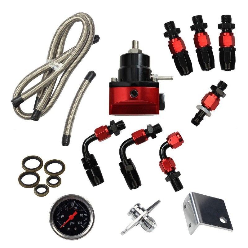 Universal Einstellbare Kraftstoff Druckregler Kit Öl 0-100psi Gauge-6an An6 Blut NäHren Und Geist Einstellen