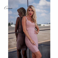 Sexy Women Dresses Strapy Sleeveless Mini Pink Bodycon Bandage Dress Club Dresses