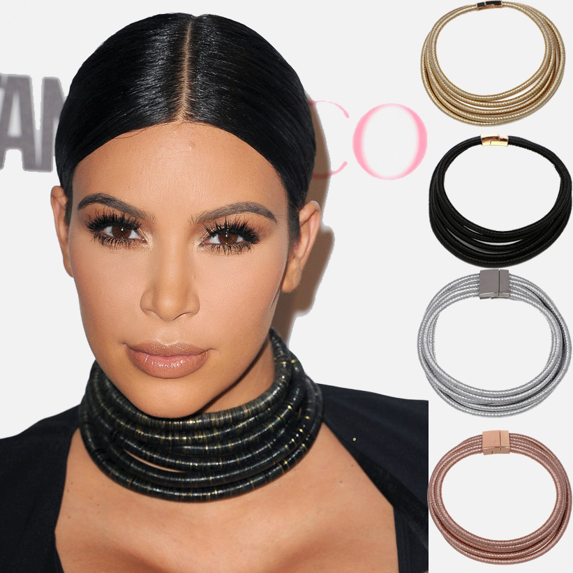 Maxi Chokers Magnet Button Multilayer Coiled Choker Necklace Kim Kardashian Statement Necklace Women Collar cat eye multilayer necklace