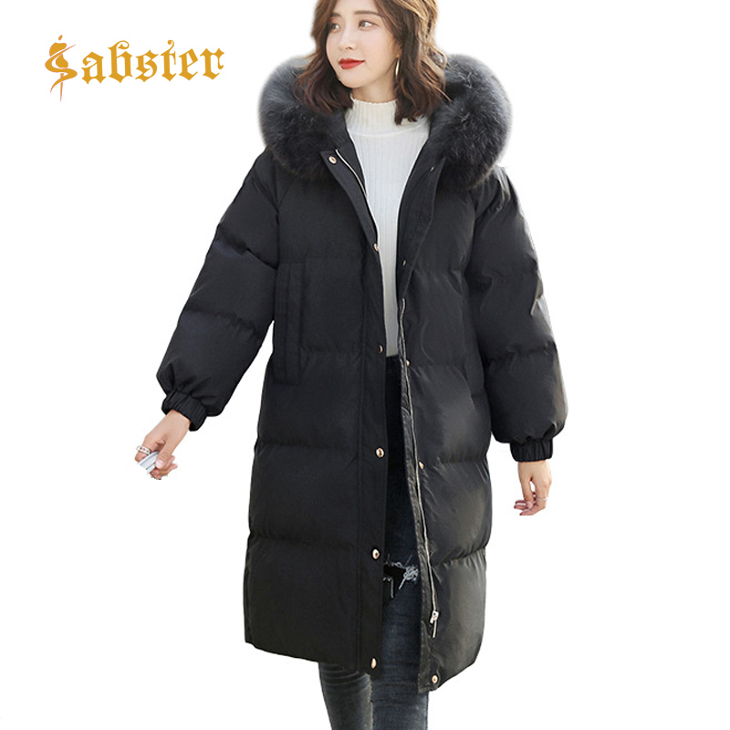 Real & F Fur   Parka   Women 2018 New Hooded Loose Plus Size Winter Jacket Women Long Coat Thick Warm Overcoat   Parka   Coats kz325