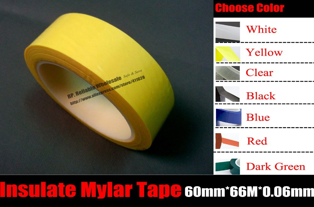 Color Choose,(60mm*66M*0.06mm), Insulation mylar Tape for Transformer Coil Packing High Temperature Resistant, Flame Retardation 66meters roll 5mm 28mm wide adhesive insulation mylar tape for transformer motor capacitor coil wrap anti flame yellow