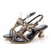 Nuevo 2016 de La Mariposa Del Rhinestone Sandalias de Tacones Gruesos Zapatos de Verano Mujer Recortable Sandalias de Gladiador de Tacón Alto Sandalia de Las Mujeres Atractivas Dulce