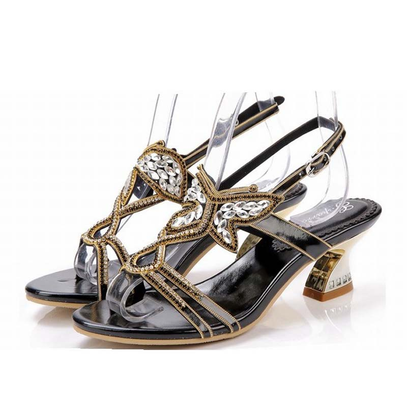 new 2016 Rhinestone Butterfly Sandals Thick Heels Summer Shoes Woman Cut Out High Heel Sexy Women Sandal Sweet Gladiator Sandals new summer sandal high heel women thick bottom female sandals casual shoes fashion leather sandal comfortable sweet cute woman