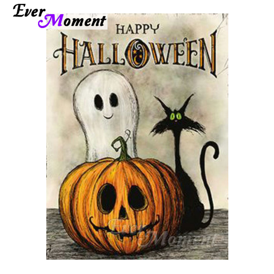 Ever Moment Diamond Painting Cat Ghost Happy Halloween Pumpkin Diamond Embroidery Mosaic Craft DIY Full Square Layout ASF1071