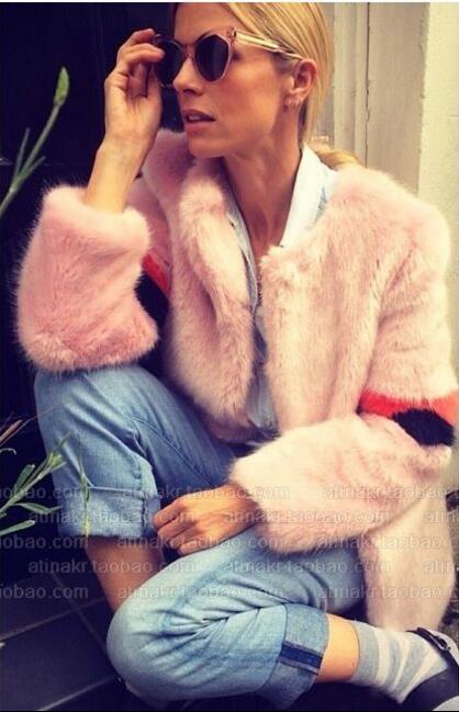 Contraste Longues Manteau rose Fourrure Vestes Chic Lâche D'hiver Shaggy Manches Long Renard Femme Rayé Noir Faux Couleur De Poilu qxnHE7wf