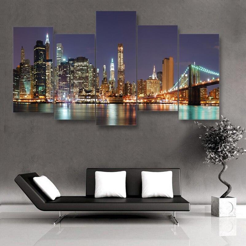 Famous Brooklyn Bridge New York City Night 5 Pieces Hot Hd
