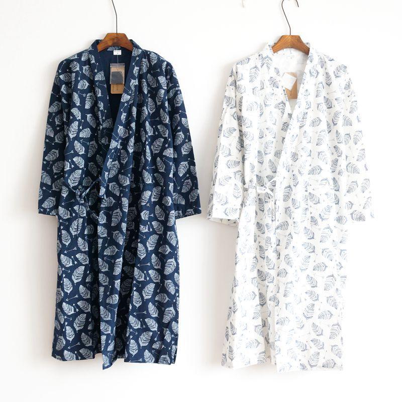 2020 Summer Men's Robe 100% Cotton Gauze Leaf Loose Comfortable Leaves Kimono Robes Home Clothing Nightly Long Bathrobes