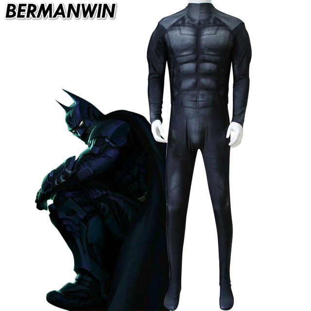 BERMANWIN High Quality Black Batman Costume adult batman suit with muscle padding spandex lycra zentai Halloween Cosplay Costume  sc 1 st  Aliexpress & Online Shop BERMANWIN High Quality Black Batman Costume adult batman ...