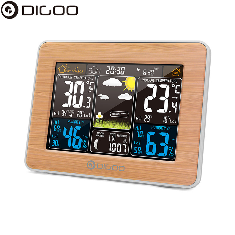 DIGOO DG EX002 Weather Station Color Digital Clock Temperature Humidity Sensor Thermometer Forecast Desk Table LCD