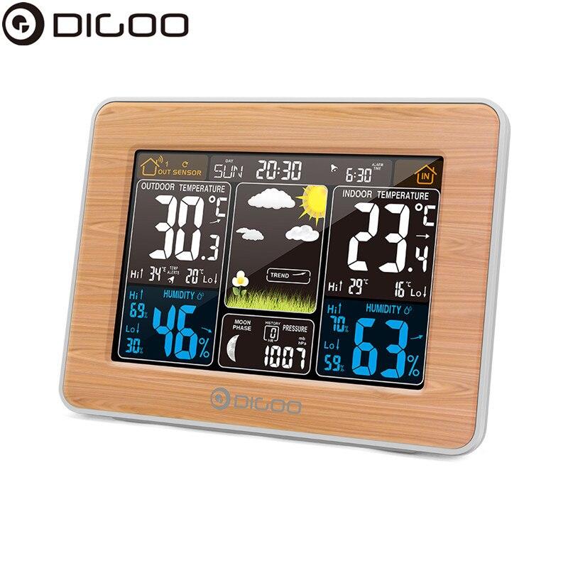 DIGOO DG EX002 Weather Station Color Digital Clock Temperature Humidity Sensor Thermometer Forecast Desk Table LCD Alarm Clock