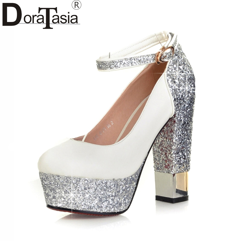 Alta Bling Top Nero Size 43 Tacchi Party 32 Scarpe Pompe 2018 Bianco Matrimonio Sexy Quality Donna Big Superior Doratasia Donna OSwx5