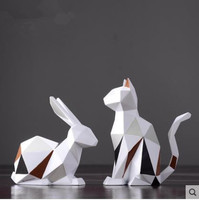 Geometric rabbit crafts ornaments, European and American style artwork, home desktop office decorations, birthday gifts