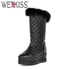 Big Size 34-43 Square Toe Fashion Fur Snow Boots Wedges Platform Russia Keep Warm Winter Boots Thick Fur Winter Shoes Woman