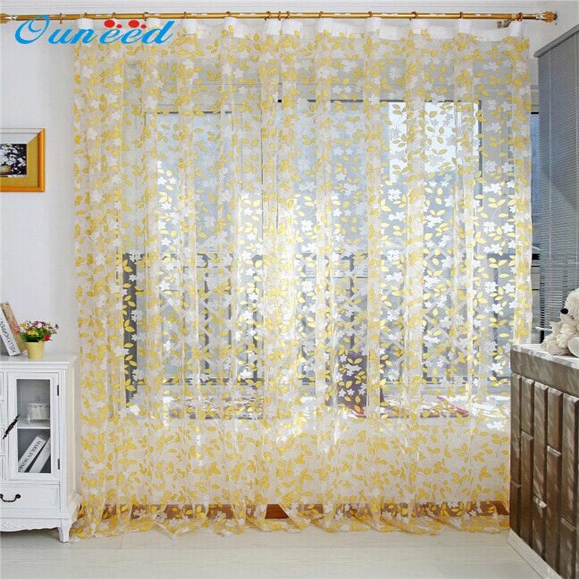 Huayin Velvet Linen Curtains Tulle Window Curtain For: One Piece Leaf Sheer Curtain Tulle Window Treatment Voile