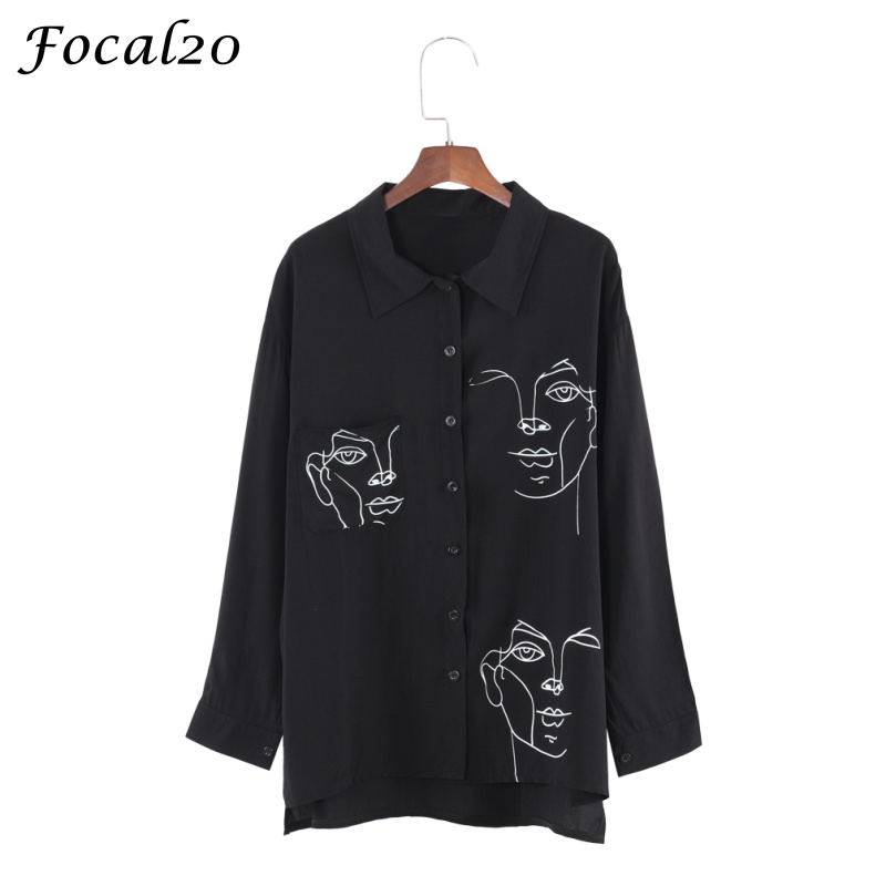 Focal20 Streetwear Face Print Oversize Women Blouse Shirt