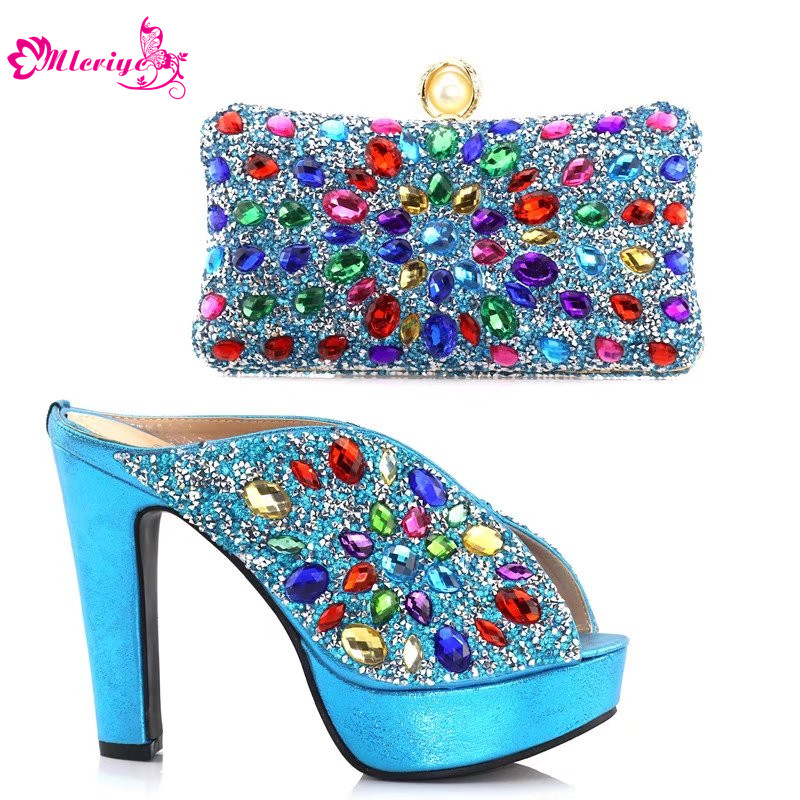 African Wedding Italian Shoe and Bag Sets Decorated with Rhinestone Designer Shoes Women Luxury 2018 Low Heels Elegant Shoes elegant rhinestone bird decorated bracelet with ring for women