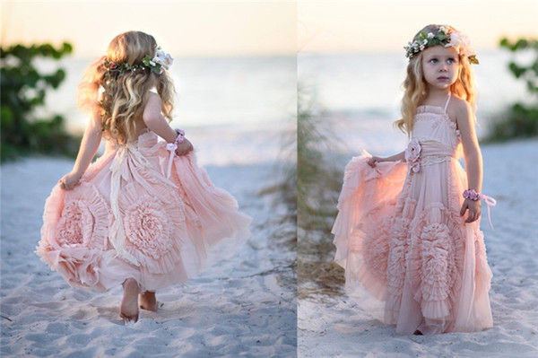 Pastel Pink   Flower     Girls  '   Dresses   For Wedding 2018 Pleats 3D   Flowers   Kids Formal Wear Sleeveless Long Beach   Girl's   Pageant Gown
